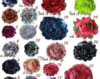 20% OFF EXP 06/30 24 PCS Shabby Print chiffon flowers - 2.50 inches- Pick Colors