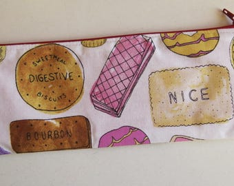 Biscuit pencil case - biscuit pouch - slim pencil case
