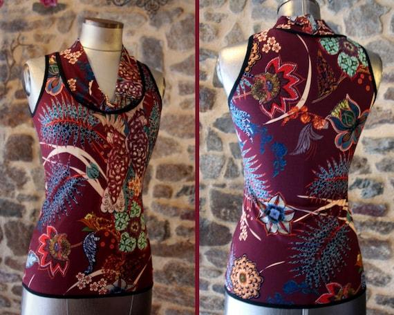 TShirt tank top women Burgundy flower motifs etOiseaux parakeets Top sleeveless Cotton Jersey. Size 42
