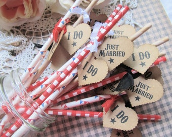Just Married I Do Paper Party Straws with Kraft Tags - Set of 18 - Rustic Wedding Barbecue Backyard -I Do BBQ