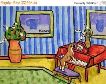 20 % off storewide Boxer Playing Piano Dog Art Print  JSCHMETZ modern abstract folk pop art gift
