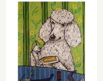 20 % off storewide Poodle Doing Needlepoint Dog Art Print