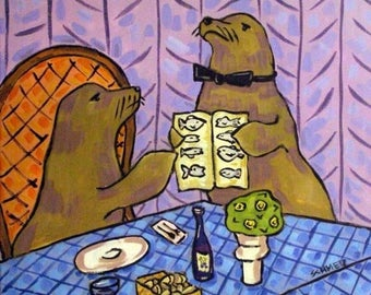 20 % off storewide Sea Lion Food Critic Animal Art Tile Coaster