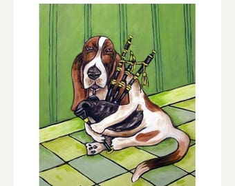 20 % off storewide Basset Hound Playing the Bagpipes Dog Art Print