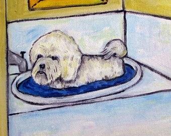 20% off storewide Bichon Frise tile- bathroom art, bathroom tile, bichon frise tile, dog tile, dog art, bichon frise art
