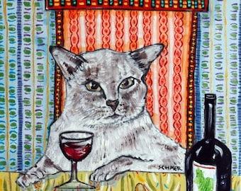 20% off tonkinese CAT Art Print wine 11x14 JSCHMETZ abstract american modern POP art folk abstract