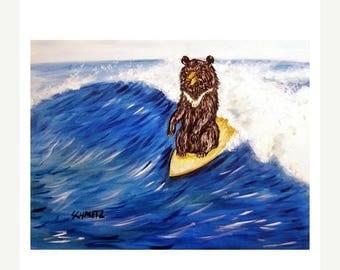 20% off Black Bear Surfing Art Print