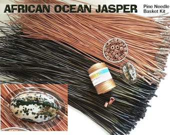 Pine Needle Basket Kit  - AFRICAN OCEAN JASPER Center in Resin - Natural & Dyed Pine Needles, Waxed Thread, Beads - D.I.Y. Basketry