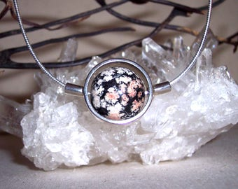 OBSIDIAN (FIRE WORK) -hand-cut -Stone Sphere Necklace