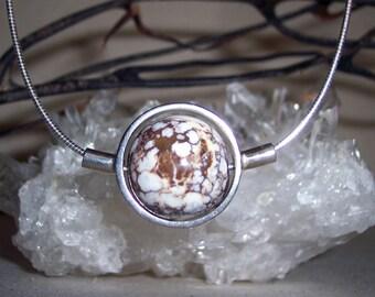 JASPER (WILD HORSE) -hand-cut -Stone Sphere Necklace