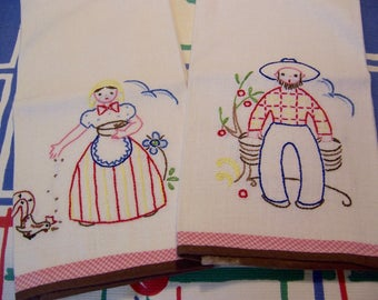 adorable set of embroidered towels