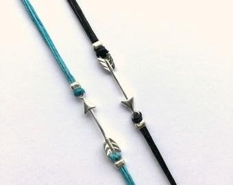 Arrow Bracelet Sterling Silver Arrow Linen Cord Casual Bracelet Pi Phi Arrow Ready to ship jewelry Graduation Gift