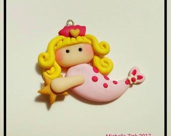 Blonde Pink Mermaid Charm - Mermaid Girl Pendant - Polymer Clay Focal Bead Fish Girl-Mermaid Chunky Charm