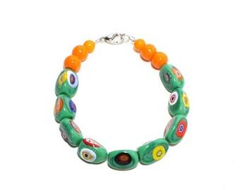 HALF PRICE SALE Venice millefiori green glass beaded layer stack bracelet