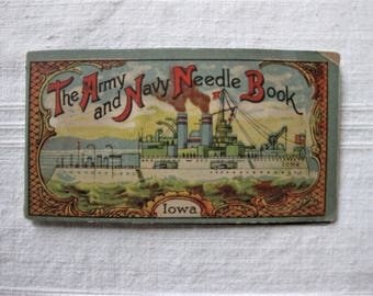 Vintage Iowa Army and Navy Needle Book with Eagle on Backside