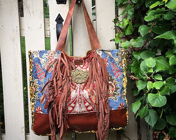 The Bohemian Leather Fringed Tote ~ Travel Bag, Premium Italian Leather, Gorgeous Fabrics ~ Ready to Ship