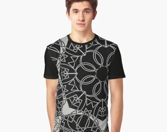 Black and Grey Big Modern Gothic Linked Ring Pattern Men's Panel Light T-shirt