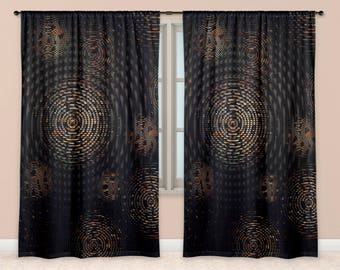 Fabric Window Curtains Modern Circles Concentric Weave Pattern in Dark Colours
