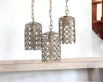 Italian Brass Filigree Three-Tiered Pendant Chandelier
