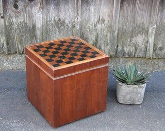 Midcentury Walnut Lane Chess Game Side Table Stool Ottoman Cube Record Cabinet Danish Modern
