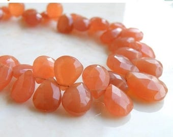 Deep Discount Sale Peach Moonstone Gemstone Briolette Faceted Pear Tear Drop 9.5 to 10.5mm 12 beads