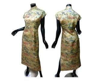 """Gold Brocade Jacquard Cheongsam Vintage 1950s Size Small """"Elegant Art"""" Gold Brocade Jacquard Figural Silk """"New Look"""" Small Flaw"""