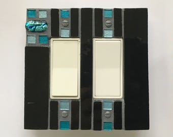 Black Light Switch Cover, Dichroic Pendant, Decorative Switch Plates, Mosaic Switch Plate, Glass Switchplates, Outlet Cover, Rocker, 8700