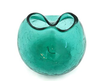 Blenko Glass Pinched Vase - Mid Century Blue Green Crackle Glass