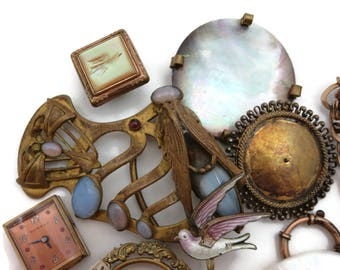 Jewelry Pieces Parts Lot - Enamel Glass Sterling Art Nouveau Mother of Pearl Repurpose