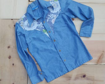 Vintage OCEAN PACIFIC Shirt //  Vtg OP Sunwear Button Front Chambray Shirt with Floral Yoke