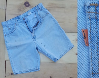 """Vintage Denim Shorts  //  Vtg 90s LEVI'S  Made in the USA 505 Distressed Trashed Faded Light Wash Indigo Shorts w/ Stains  //  33"""" waist"""
