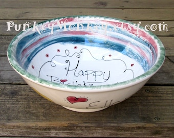 Personalized Giant popcorn bowl snack bowl pottery 12 inches across family size serving bowl decorated your colors text salad bowl wedding