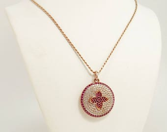 Rose Gold 925 Sterling Pendant Micro Pave Ruby Cubic Zirconia CZ