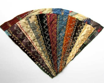 Antique Victorian 1890's Quilt Fragment, Embroidered Fancy Stitch Work Crazy Quilt Piece for Quilts, Framing, Creative Work, Fan Design