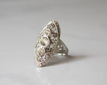 1920s Ring / Vintage 20s Uncas Filigree Ring / 1920s Art Deco Filigree Costume Ring