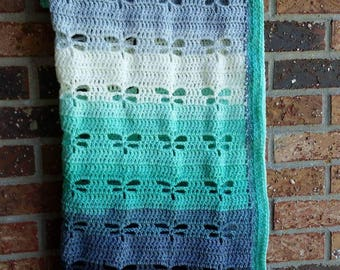 Dragonfly Baby Blanket, Crochet Blanket, made to order