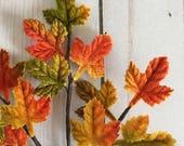 Vintage velvet Autumn millinery leaves - orange - green - Made in Japan