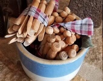 Bundles of Old Vintage Clothespins, One Dozen Set Free Shipping, Bowl Filler