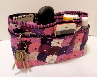 Quilted Purse Organizer Insert With Enclosed Bottom Large - Shades of Purple