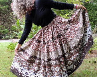 Two Tiered, Full Circle, Gypsy Maxi Patchwork Skirt