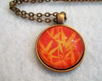 Exotic Golden Orange BAMBOO Cabochon PENDANT Necklace