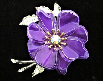 Vintage 1960's Flower Pin Brilliant Magenta/Purple Enamel Brooch with AB Rhinestone Center