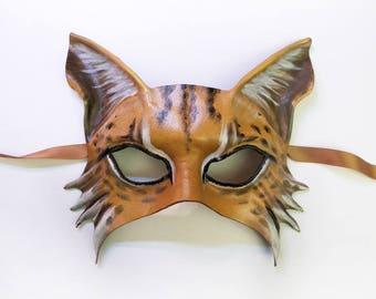 Lynx Wildcat Cat Leather Mask animal masks Bobcat Maine Coon