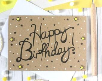 Handmade Birthday Card. Happy Birthday Card. Birthday Card. Birthday Cards. Happy Birthday Cards. Hand Lettered Birthday Card. Stars. Cards.