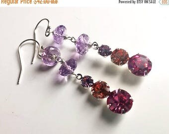 QUICKIE SALE 15% OFF, Tri Color One Of A Kind vintage 1950's Swarovski crystal and Amethyst earrings