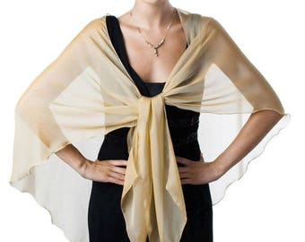 Promo Sale: Antique Gold Formal Sheer Silk Scarf - Wrap