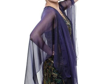 Promo Sale: Purple-Black Sheer Silk Cardigan Cape OLIVIA