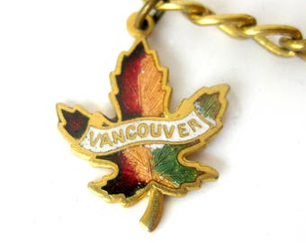 Vintage Charm Bracelet - Canada Souvenir Travel Charm Bracelet / Vancouver Charm / Enamel Charms / Maple Leaf / Thunderbird
