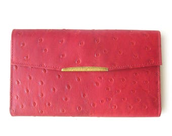 Vintage Ostrich Grain Hide Wallet in RED / Don Lopez of California Wallet / Change Purse / Checkbook Cover and Credit Card Holder