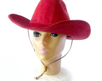 Vintage LEVI Strauss RED Corduroy / Cowboy Hat / Western Wear / Rodeo Fashion Hat / Ranch Wear / Equestrian Style / Size 7.5